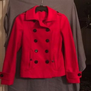 Divided By H&M Red Pea Coat, Size 10